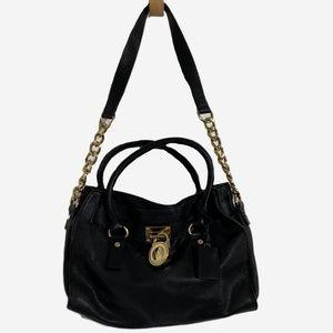 Michael Kors Hamilton Satchel Gold Padlock Bag